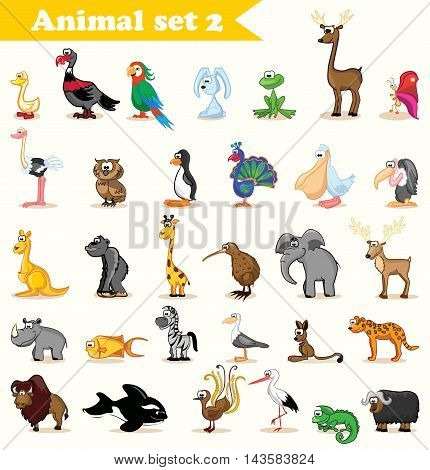 Vector Set with 31 cute cartoon animals