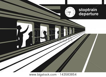 vector illustration train station platform train with passengers abstraction