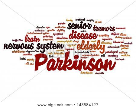 Vector concept conceptual Parkinson`s disease healthcare or nervous system disorder abstract word cloud isolated on background, metaphor to healthcare, illness, degenerative, genetic, symptom or brain