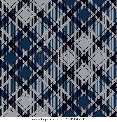 Blue diagonal check plaid seamless pattern. Vector illustration. EPS10.