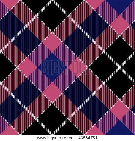 Pink blue diagonal check plaid seamless pattern. Vector illustration. EPS10.