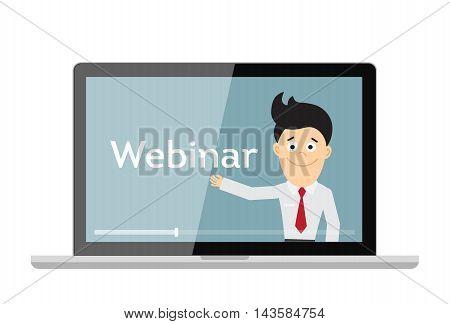 Online webinar concept. Laptop monitor with teacher, tutor, businessman. Online learning or e-learning.