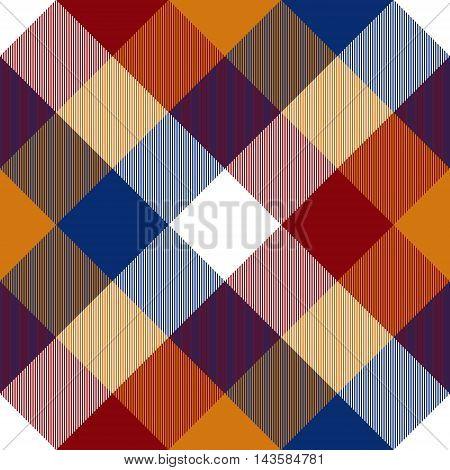 Red orange blue white diagonal seamless check plaid. Vector illustration. EPS10.