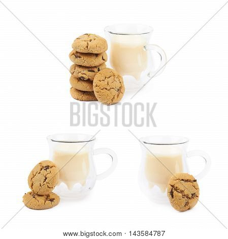 Soft chewy chocolate chip cookie next to a glass of milk, composition isolated over the white background, set of three different foreshortenings