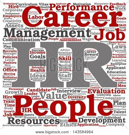 Vector concept conceptual hr or human resources management abstract square word cloud isolated on background