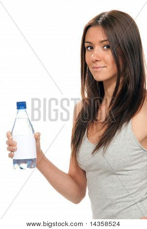 Girl Hold  Bottle Of Pure Still Drinking Water