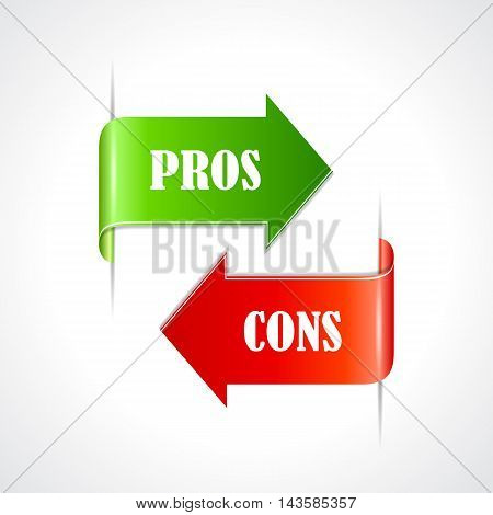 Pros and cons ribbons set vector illustration isolated on white background