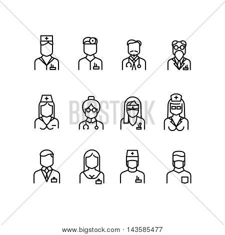 Doctor icons, nurse symbols, medical professionals vector avatars. Surgeon with stethoscope, woman physician illustration