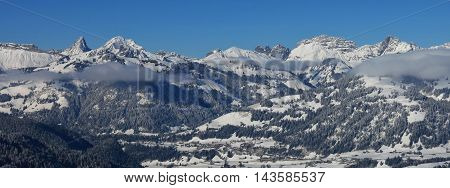 Winter landscape in the Bernese Oberland. View from Mt Wispile.