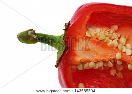 Half red bell pepper isolated on white background. Close up