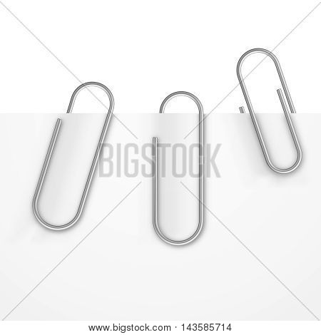 Realistic paper clips vector set. Metal paperclip with sheet, office tool for attaching illustration
