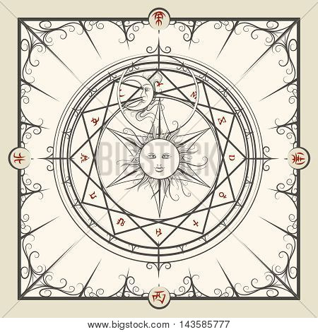 Alchemy magic circle. Mystic occult hermetic circle vector illustration