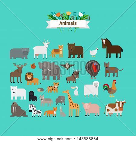 Animals flat design vector icons on green background