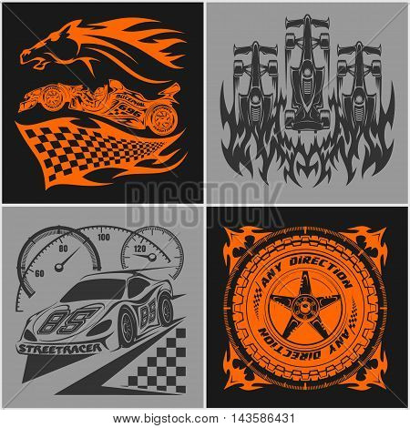 Car racing emblems - Sport car logo illustration on dark and light background. Drag racing.