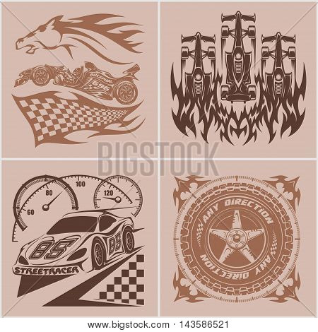 Car racing emblems - Sport car logo illustration on light background. Drag racing.
