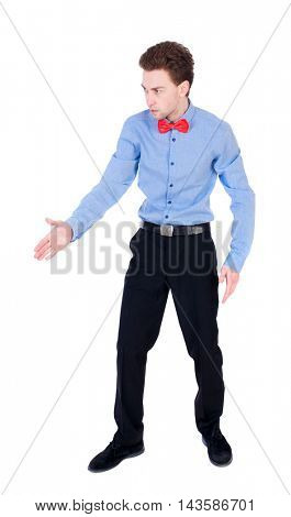 Referee suit and tie butterfly separates boxers. Isolated over white background. Businessman holds out his hand in greeting.