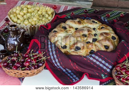 Feast of cherry fruit in the Kyustendil, presentment out their production raw fruit, tart and jam, Bulgaria