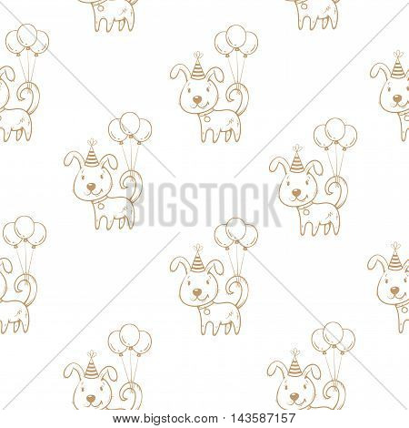 Birthday  seamless pattern with cute cartoon  dogs in party hats and balloons on white background. Funny animals. Little puppies. Vector contour image.