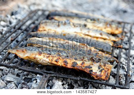 Mackerel on the Barbecue open fire healthy food.