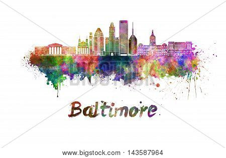 Baltimore skyline in watercolor splatters with clipping path