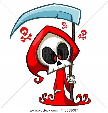 Vector cartoon illustration of spooky Halloween death with scythe skeleton character mascot isolated. Grim reaper