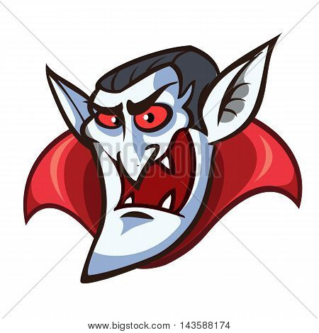 Vampire head icon. Halloween cartoon dracula head