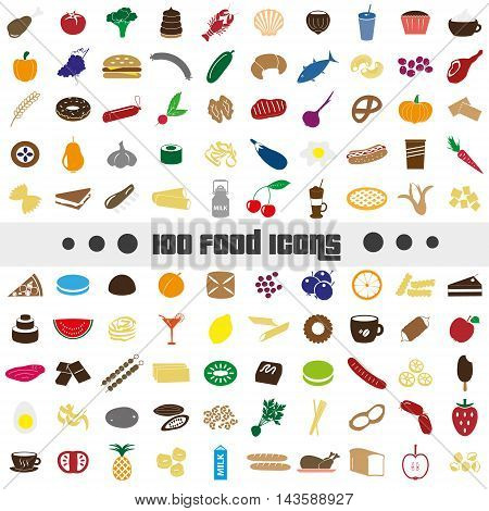 Hundred Various Food And Drink Color Icons Big Set Eps10