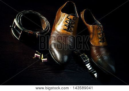 Men's accessories. Brown shoes with belt and watch