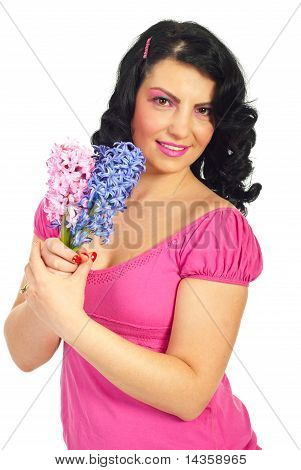 Happy Woman Holding Hyacinth