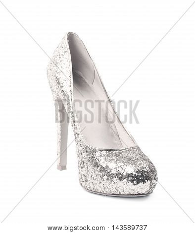 Shining silver high-heeled footwear shoe isolated over the white background