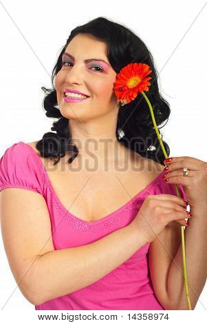 Smiling Woman Holding Red Gerber
