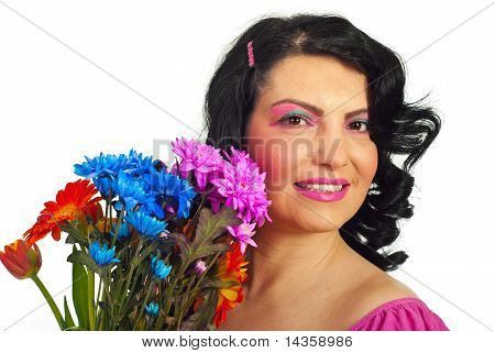 Woman Face With Spring Makeup And Flowers
