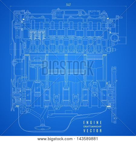 blueprint engine project technical drawing on the blue background. stock vector illustration eps10