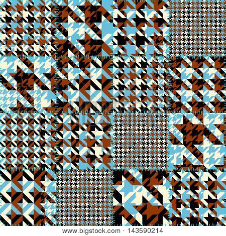 Seamless geoemtric pattern. Classic Hounds-tooth pattern in patchwork style