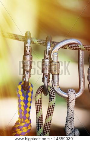 Climbing Sports Image Of A Carabiner On A Rope