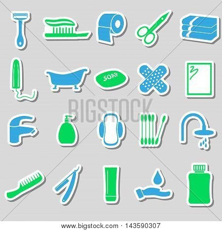Hygiene Theme Modern Simple Color Stickers Icons Set Eps10