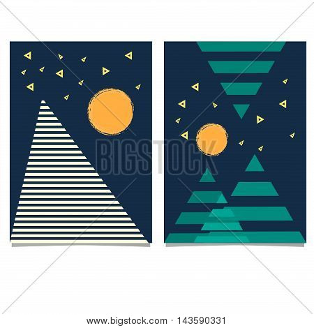 Trendy geometric elements memphis cards. Retro style texture, pattern and geometric elements