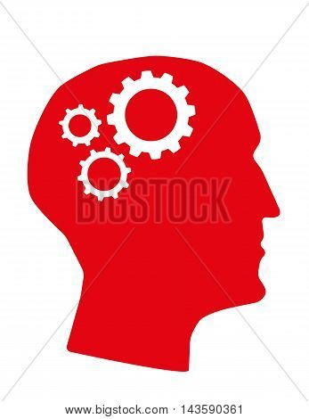 Human head in profile with machine cogs or gears in the brain area as a metaphor
