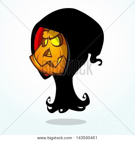 Cartoon grim reaper pumpkin isolated on white. Halloween vector illustration of pumpkin head in black hood