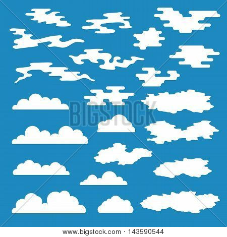 Cloud icons set, different styles clouds, clouds symbols, white clouds on blue background vector illustration
