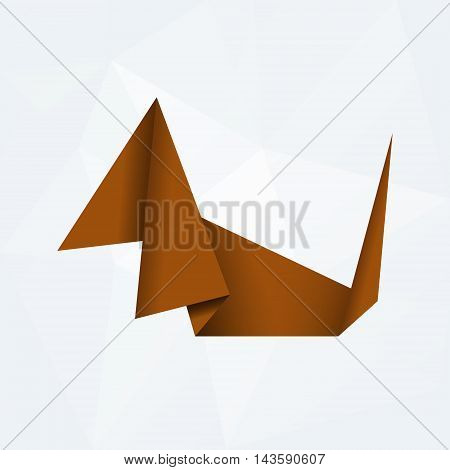 Brown Simple Paper Origami Dog Od White Paper Background Eps10