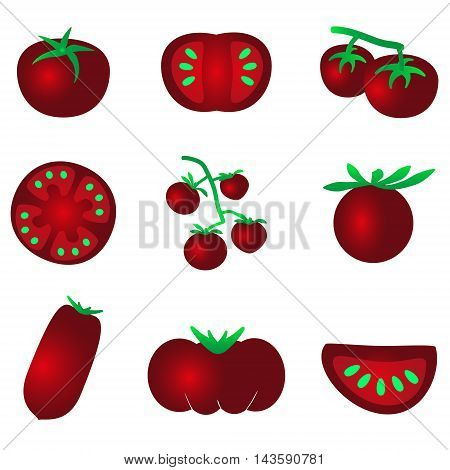 Red Color Tomatoes Simple Icons Set Eps10