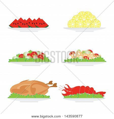 Food on plate isolated on white background salad turkey yummy prawn and fruit vector illustration.