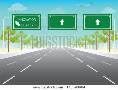 Road sign with innovation next exit words on highway conceptual flat design vector illustration.