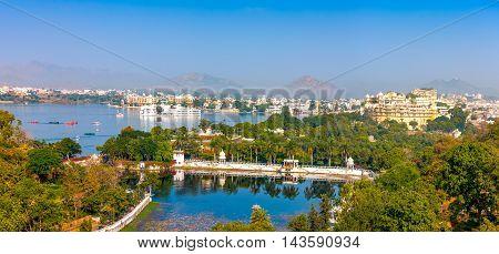 Udaipur, View Of Lake Pichola, City Palace And Taj Lake Palace. India
