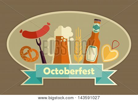 Octoberfest icon set. German food and beer symbols. Vector illustration.