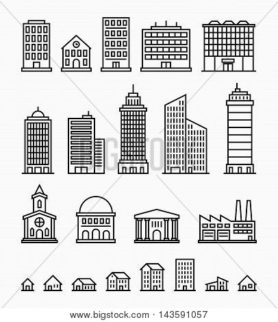 Line building icons, set of outline buildings, make your own city with these buildings, trendy outline design, vector buildings