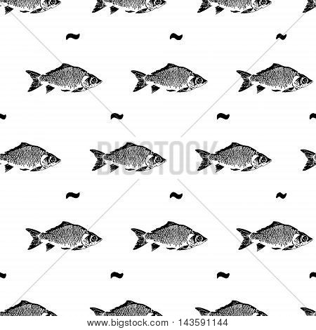Vector hand drawn fish pattern. Sea food.