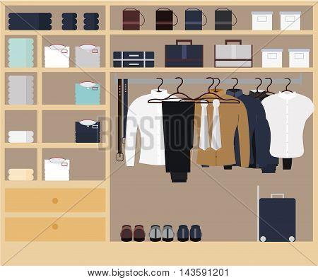 Wardrobe room full of men s cloths.