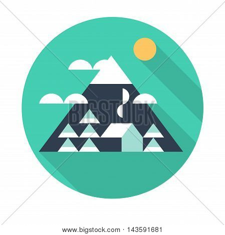 Landscape with mountains in the style of a flat